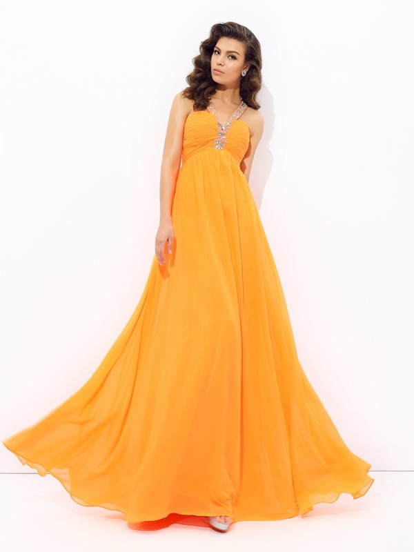 A-line/Princess V-neck Sleeveless Floor-Length Chiffon Dresses With Rhinestone