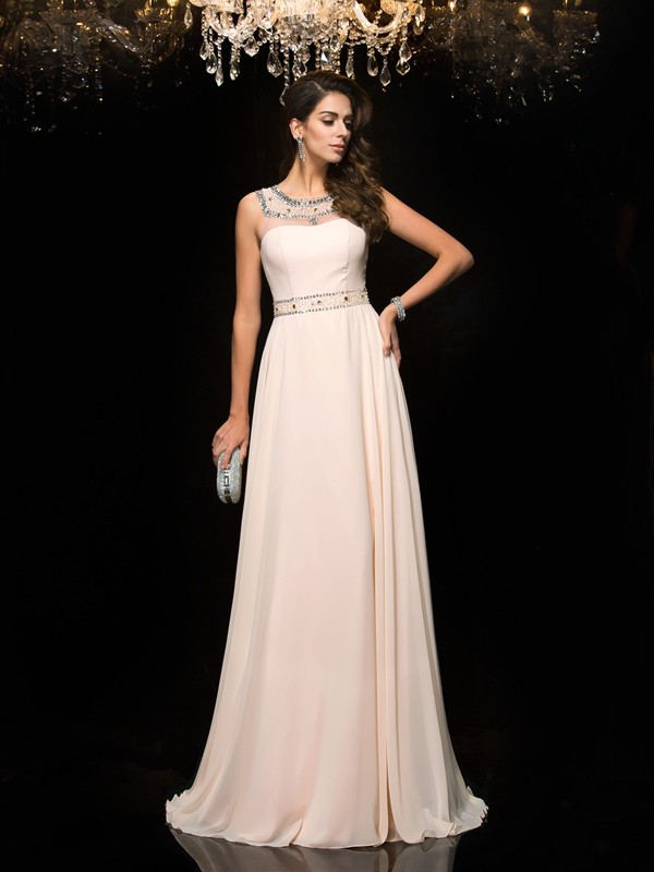 Graceful A-Line/Princess Scoop Beading Sleeveless Long Chiffon Dresses