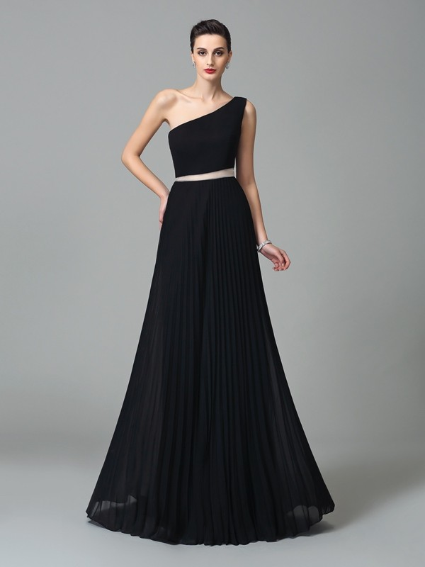 One-Shoulder A-Line/Princess Pleats Sleeveless Chiffon Long Dresses