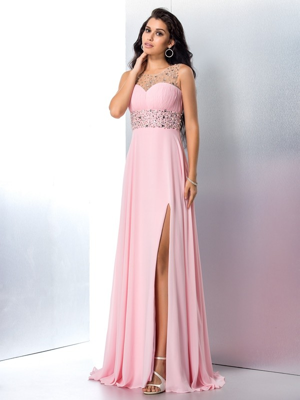 Sheer Neck A-Line/Princess Sleeveless Long Chiffon Dresses With Beading