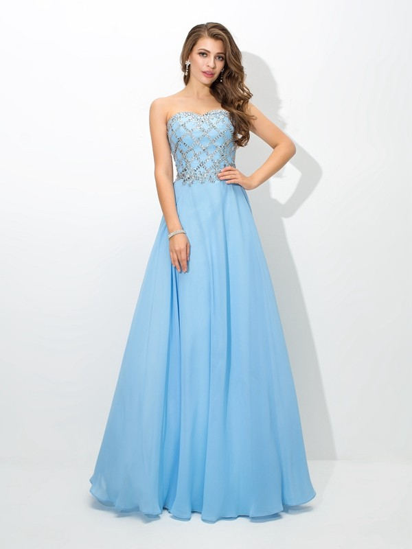 A-Line/Princess Sweetheart Sleeveless Long Chiffon Dresses With Beading