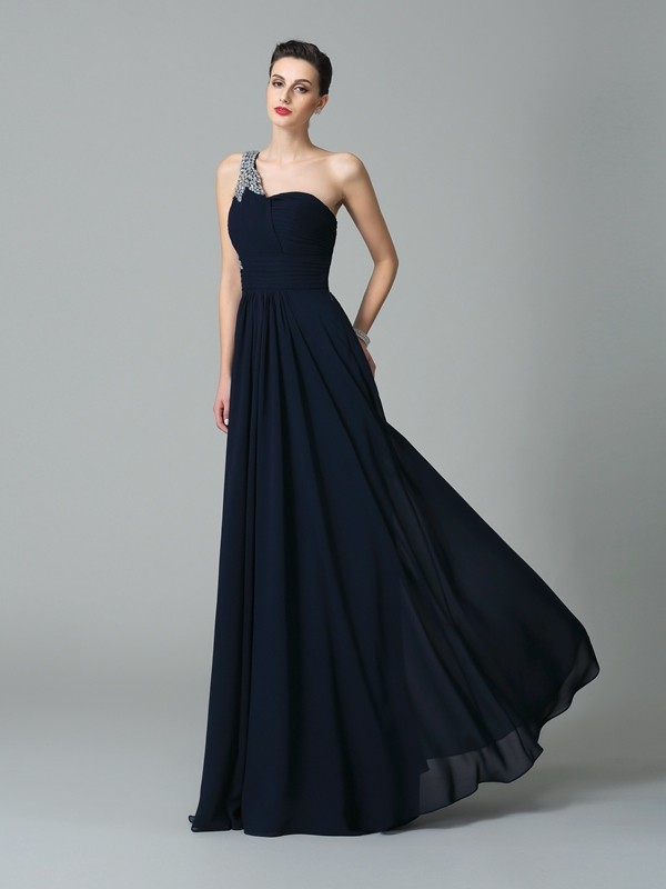 A-Line/Princess One-Shoulder Sleeveless Long Chiffon Dresses With Rhinestone