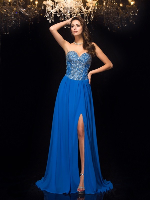 A-Line/Princess Sweep/Brush Train Sweetheart Sleeveless Long Chiffon Dresses With Beading
