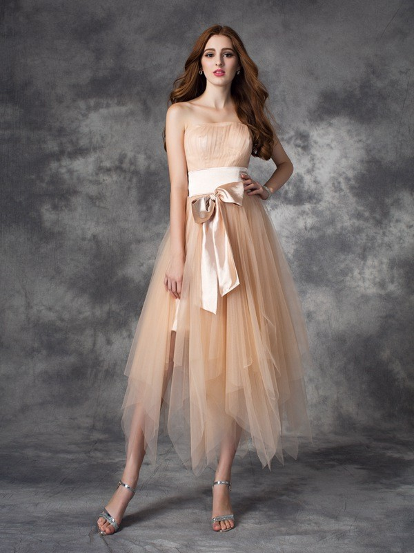 Strapless A-line/Princess Bowknot Sleeveless Long Elastic Woven Satin Dresses