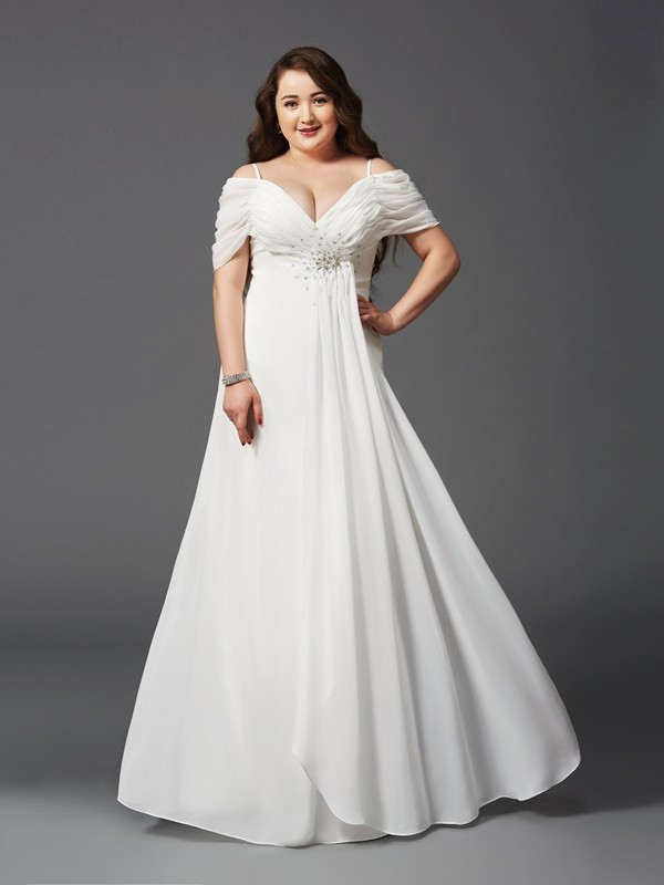 Off-the-Shoulder A-Line/Princess Short Sleeves Floor-Length Chiffon Plus Size Dresses With Ruched