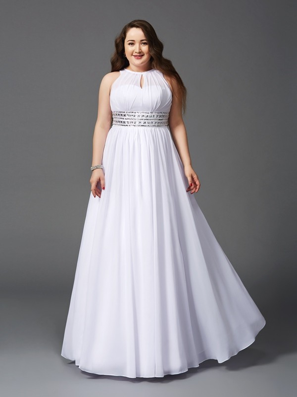 Jewel A-Line/Princess Sleeveless Long Chiffon Plus Size Dresses With Beading