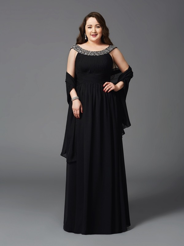 A-Line/Princess Scoop Sleeveless Long Chiffon Plus Size Dresses With Rhinestone
