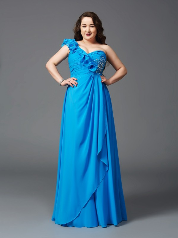One-Shoulder A-Line/Princess With Rhinestone Sleeveless Long Chiffon Plus Size Dresses