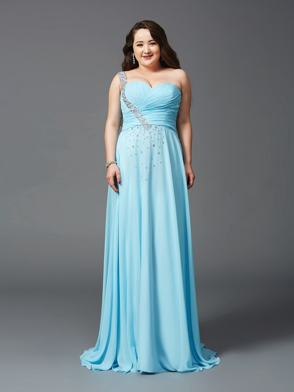 One-Shoulder A-Line/Princess Sleeveless Long Chiffon Plus Size Dresses With Rhinestone