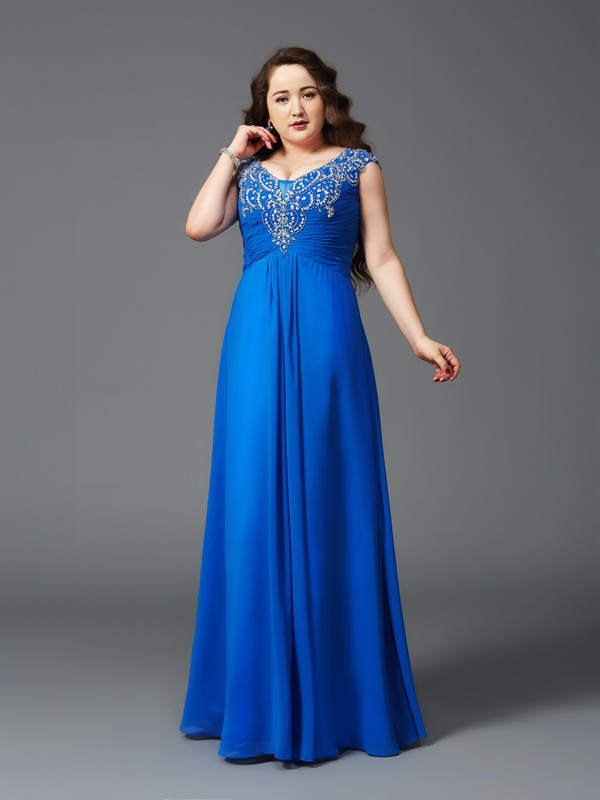 A-Line/Princess Straps Short Sleeves Long Chiffon Plus Size Dresses With Beading