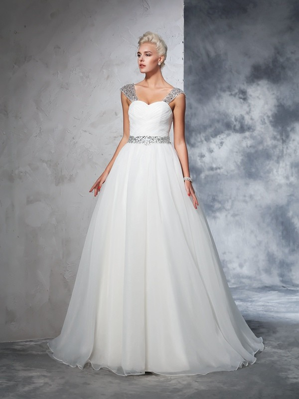 Ball Gown Straps Sleeveless Long Net Wedding Dresses With Ruched