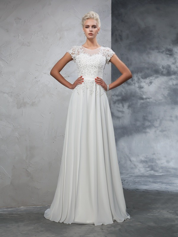 A-Line/Princess Sheer Neck Short Sleeves Long Chiffon Wedding Dresses With Applique