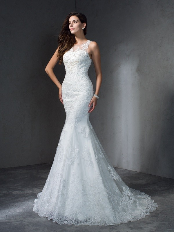 Trumpet/Mermaid Scoop Sleeveless Long Lace Wedding Dresses With Applique