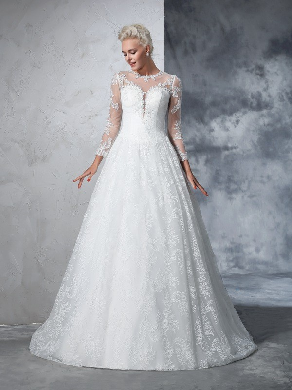 Unique Ball Gown Jewel Lace Long Sleeves Long Lace Wedding Dresses