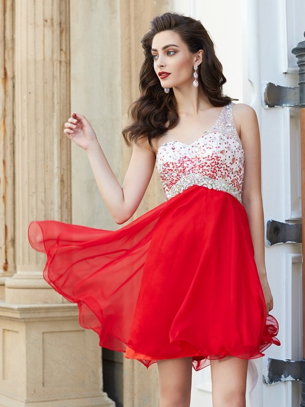 One-Shoulder A-line/Princess Sleeveless Chiffon Short Dresses With Beading