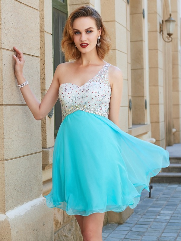 One-Shoulder A-line/Princess Sleeveless Chiffon Short/Mini Dresses With Beading