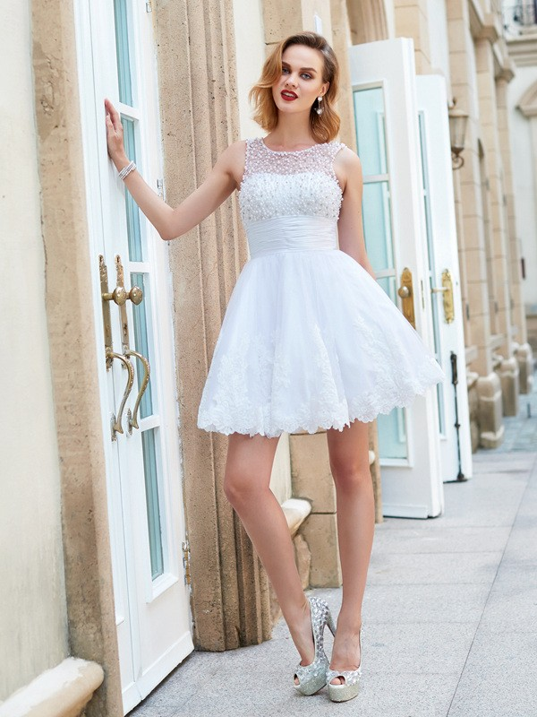 A-Line/Princess Jewel Sleeveless With Pearls Short/Mini Lace Dresses