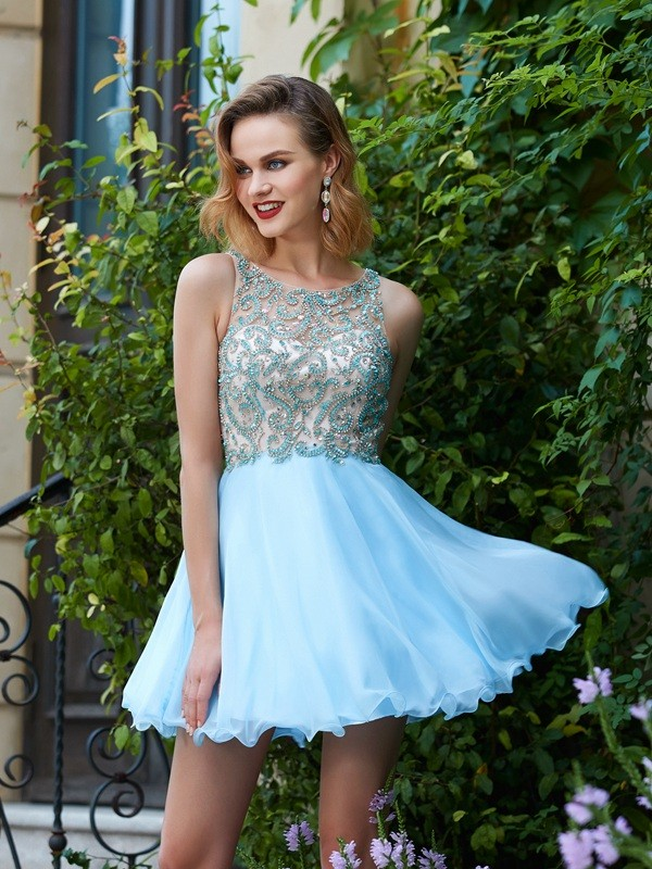 A-Line/Princess Chiffon Scoop Sleeveless Short/Mini Dresses With Beading