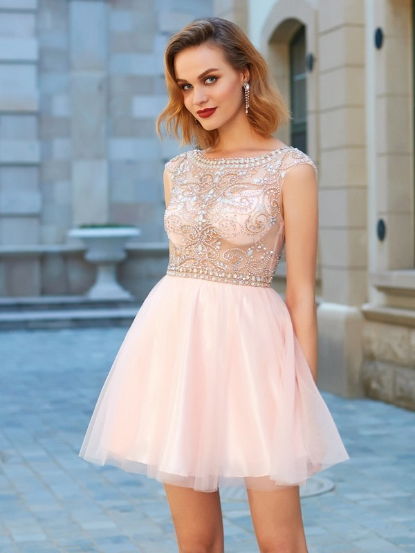 A-Line/Princess Scoop Net Short Sleeves Short/Mini Dresses With Beading