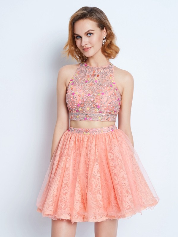 Jewel A-Line/Princess Sleeveless Lace Short/Mini Two Piece Dresses With Beading