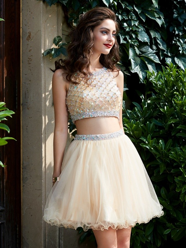 A-Line Scoop Net Sleeveless Short/Mini Two Piece Homecoming Dresses With Beading