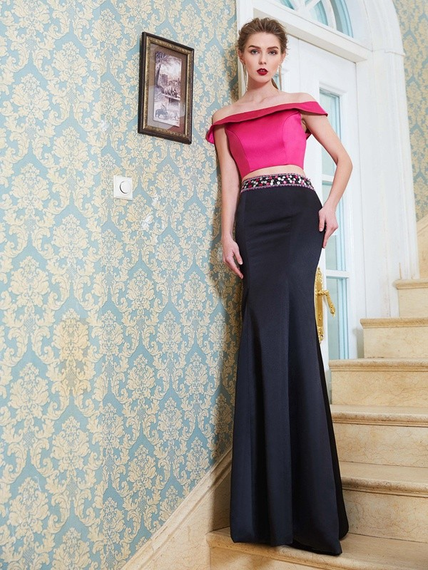 Floor-Length Mermaid Off-the-Shoulder Sleeveless With Beading Satin Two Piece Dresses