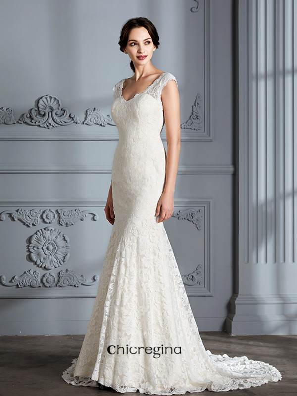 Delicate Sweep/Brush Train Trumpet/Mermaid Sleeveless V-Neck Lace Wedding Dresses
