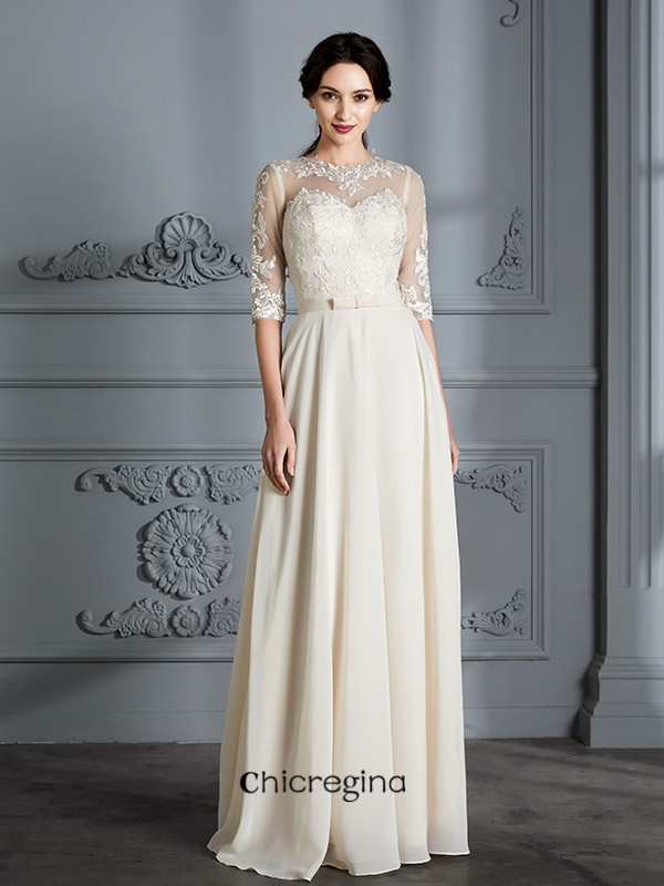 Floor-Length A-Line/Princess Scoop 1/2 Sleeves Chiffon Wedding Dresses
