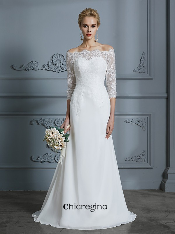 Sweep/Brush Train Trumpet/Mermaid 1/2 Sleeves Off-the-Shoulder Chiffon Wedding Dresses