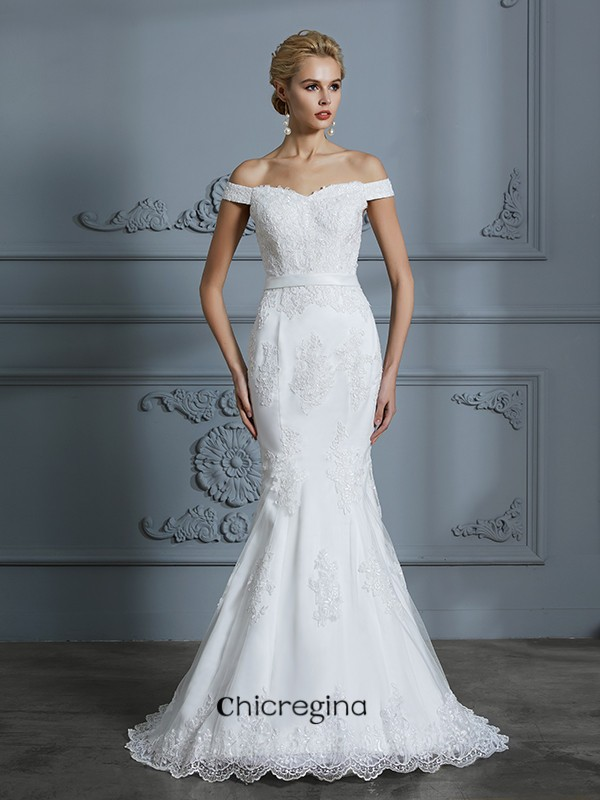 Trumpet/Mermaid Off-the-Shoulder Sweep/Brush Train Sleeveless Lace Tulle Wedding Dresses