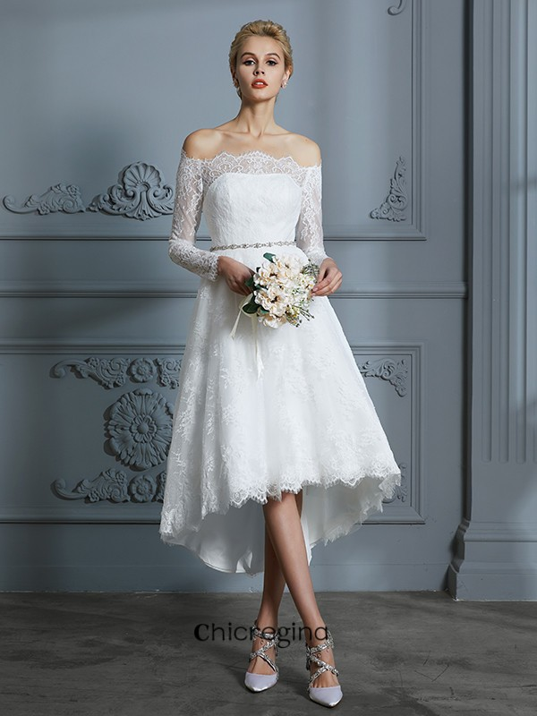 Asymmetrical A-Line/Princess Long Sleeves Off-the-Shoulder Lace Wedding Dresses
