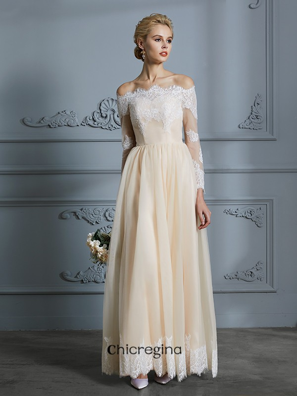 Floor-Length A-Line/Princess Off-the-Shoulder Long Sleeves Lace Tulle Wedding Dresses
