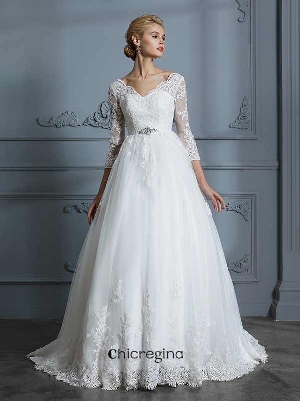 Attractive Ball Gown V-neck Court Train 3/4 Sleeves Lace Tulle Wedding Dresses