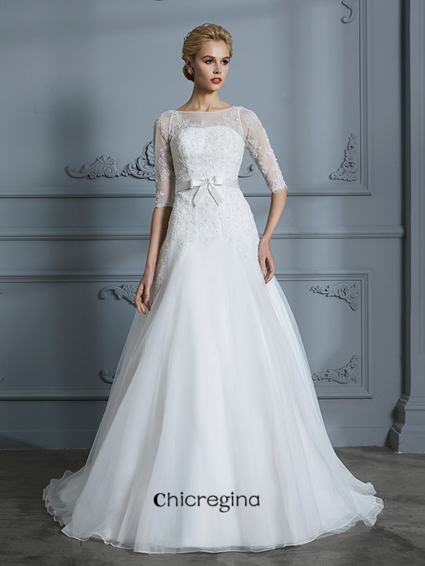 Romantic Court Train A-Line/Princess 1/2 Sleeves Scoop Lace Tulle Wedding Dresses