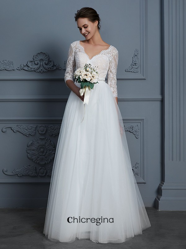 Romantic Floor-Length A-Line/Princess V-neck 3/4 Sleeves Lace Tulle Wedding Dresses