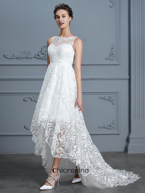 Brilliant A-Line/Princess Scoop Sleeveless Asymmetrical Lace Wedding Dresses