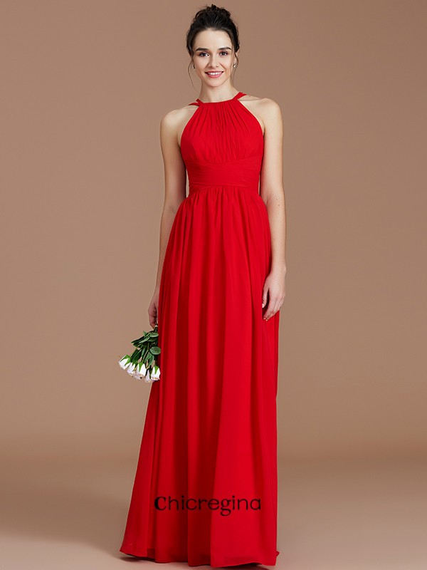 A-Line/Princess Halter Floor-Length Chiffon Sleeveless With Ruched Bridesmaid Dresses