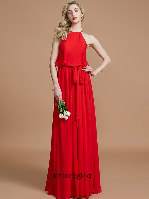 A-Line/Princess Halter Floor-Length Sleeveless Sash/Ribbon/Belt Chiffon Bridesmaid Dresses