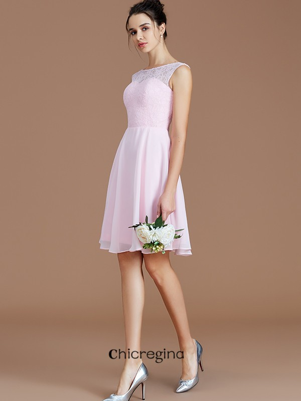 Popular A-Line/Princess Bateau Chiffon Sleeveless Lace Short/Mini Bridesmaid Dresses