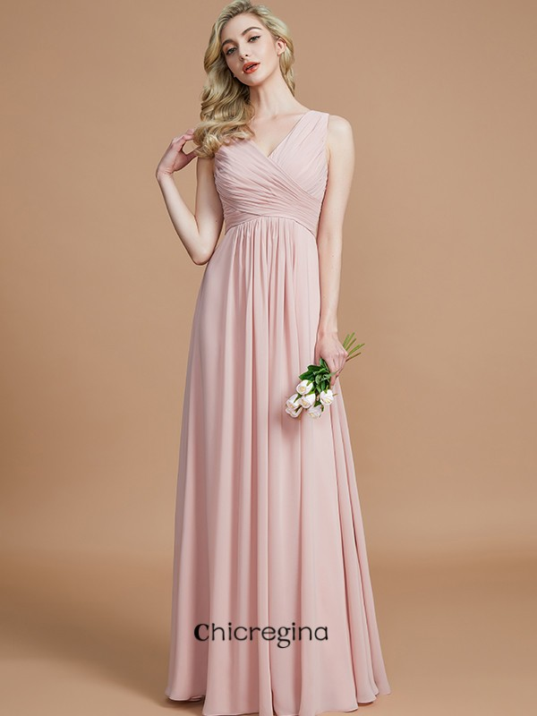 Floor-Length A-Line/Princess V-neck Chiffon Sleeveless With Ruched Bridesmaid Dresses