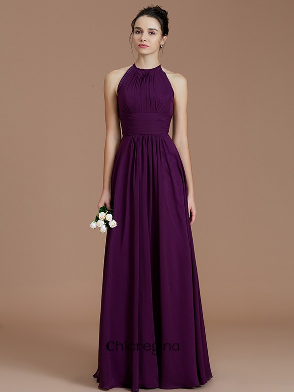 A-Line/Princess Halter Sleeveless Chiffon Floor-Length Bridesmaid Dresses With Ruched