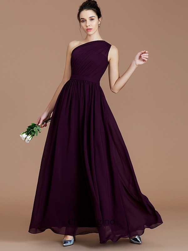 A-Line/Princess One-Shoulder Floor-Length Chiffon Sleeveless With Ruched Bridesmaid Dresses