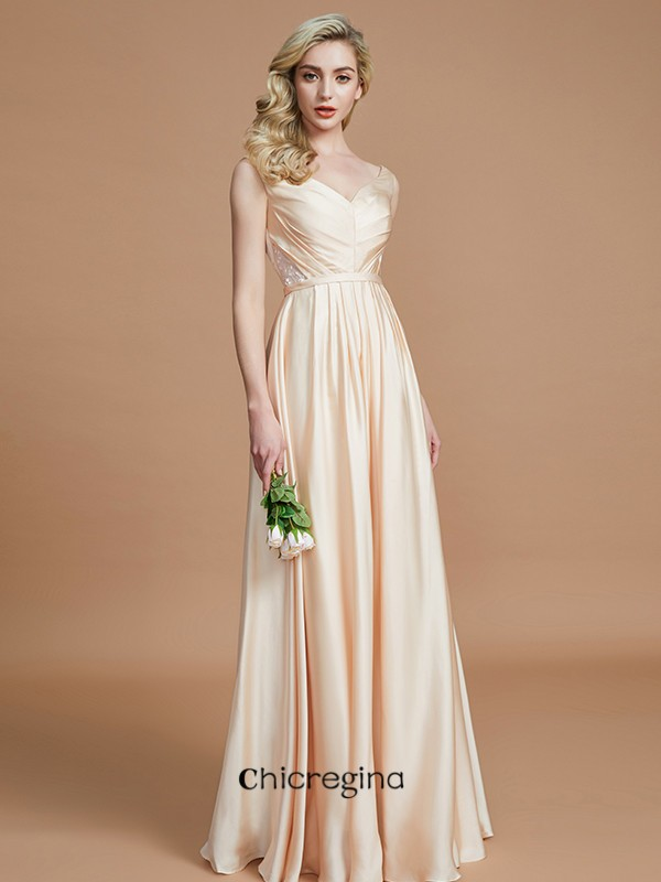 A-Line/Princess Floor-Length V-neck Sleeveless With Ruched Chiffon Bridesmaid Dresses