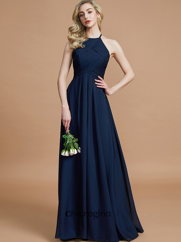 A-Line/Princess Floor-Length Halter Sleeveless Chiffon With Ruched Bridesmaid Dresses