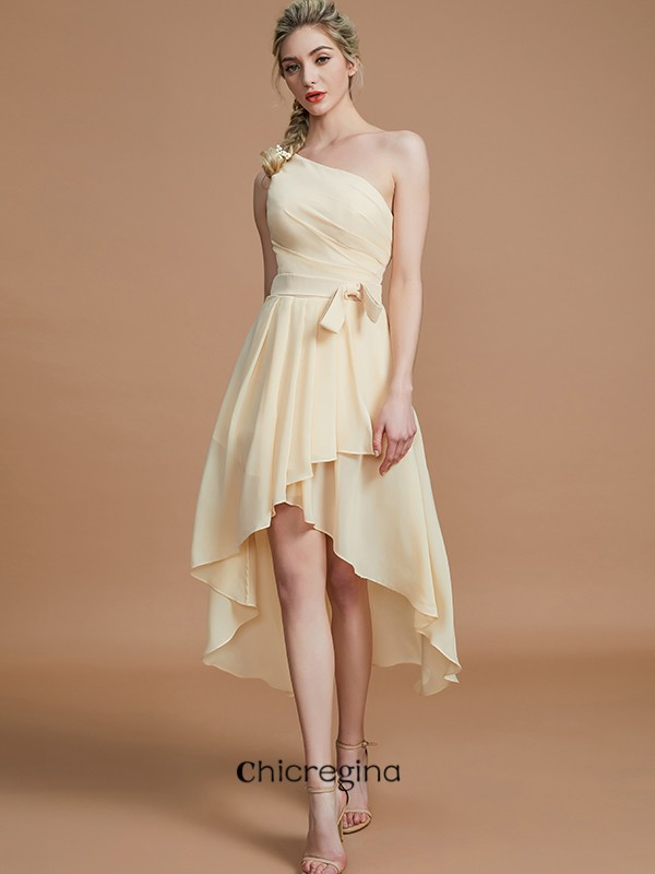 Asymmetrical A-Line/Princess One-Shoulder Sleeveless Layers Chiffon Bridesmaid Dresses