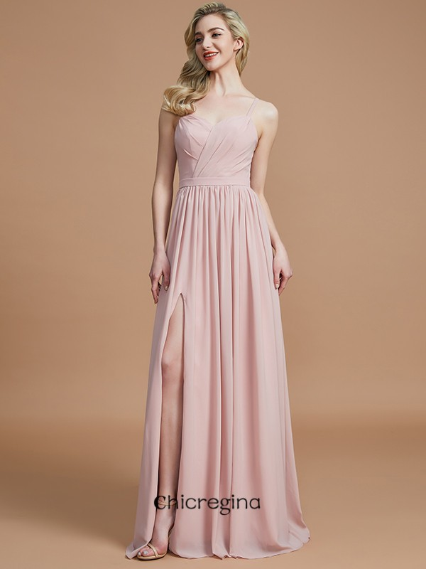 A-Line/Princess Floor-Length Spaghetti Straps Sleeveless Chiffon Bridesmaid Dresses With Ruched