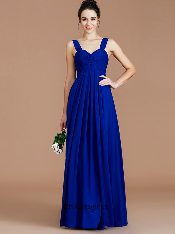 Empire Sweetheart Floor-Length Sleeveless Ruched Chiffon Bridesmaid Dresses