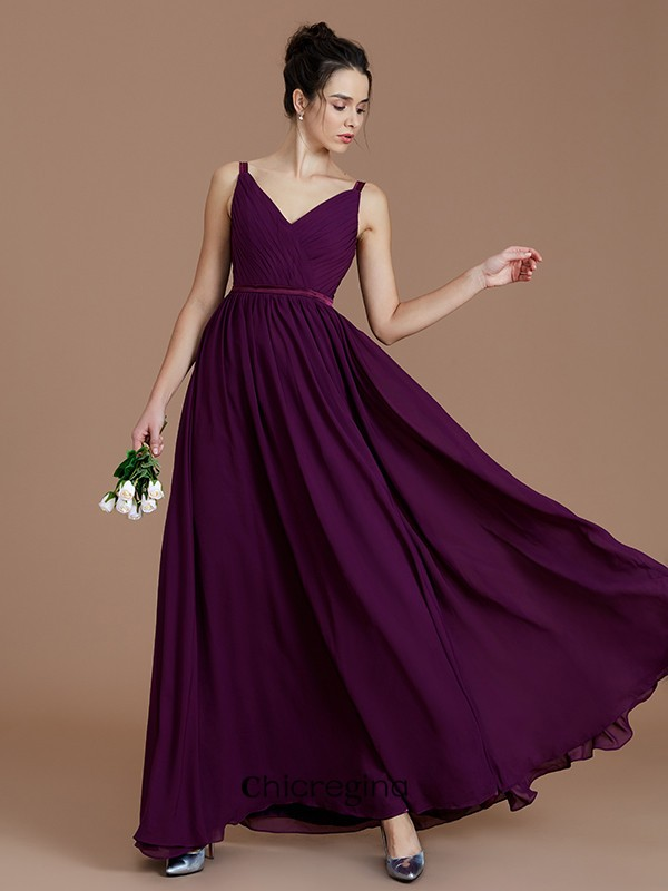 A-Line/Princess V-neck Floor-Length Chiffon Sleeveless With Ruched Bridesmaid Dresses