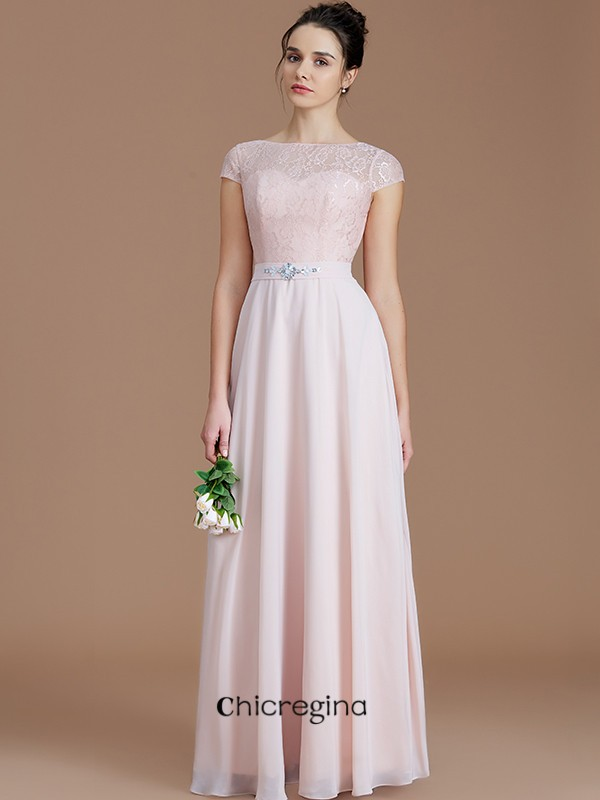 Romantic A-Line/Princess Floor-Length Bateau Sleeveless Lace Chiffon Bridesmaid Dresses