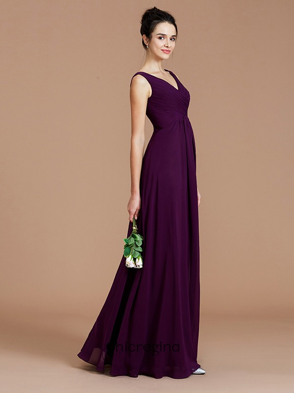 A-Line/Princess V-neck Chiffon Sleeveless Floor-Length Bridesmaid Dresses With Ruched